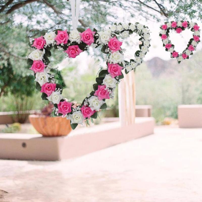 Szív alakú rózsa lógó koszorú virágok Garland selyem szalaggal - Ünnepi és party kellékek