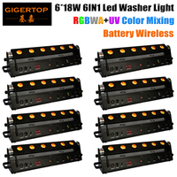TIPTOP New Arrival 6pcs 18W 6in1 RGBAW UV Battery Wireless LED Wall Washer Light LED Bar
