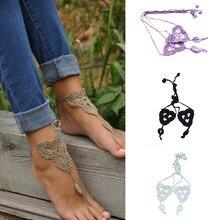 Дамы ножной браслет цепи крючком хлопка трикотажные ног цепь yoga танцы босиком сандалии ноги ювелирные изделия способа женщин cx17