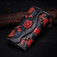 100% ручной работы Пояса из натуральной кожи ручной гравировкой Для женщин клатч кошелек черный, красный большой Ёмкость со стразами Длинный