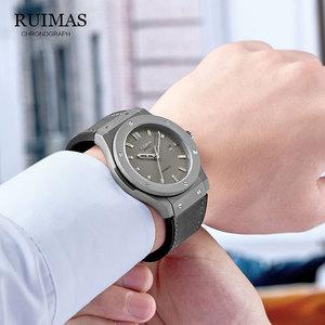 Image 3 - RUIMAS Reloj Mecánico Militar para hombre, reloj Masculino analógico con fecha, deportivo, reloj de pulsera con Correa de cuero