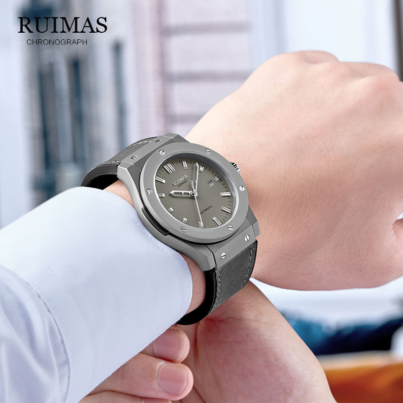 Image 3 - RUIMAS Top Luxury Brand Men Sports Military  Mechanical Watch Man Analog Date Clock Leather Strap Wristwatch Relogio Masculino-in Sports Watches from Watches