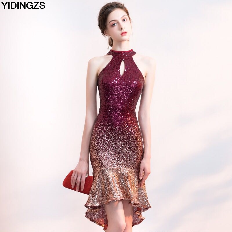 Sequin Cocktail Dress YIDINGZS Short Front Long Back Sparkle Sequin Cocktail Dress Halter Elegant  Party Dress-in Cocktail Dresses from Weddings & Events on Aliexpress.com ...