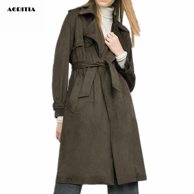 2016 Moda Outono Inverno Das Mulheres Camurça Casacos Trench Coat Longa Outwear Plus Size das Mulheres