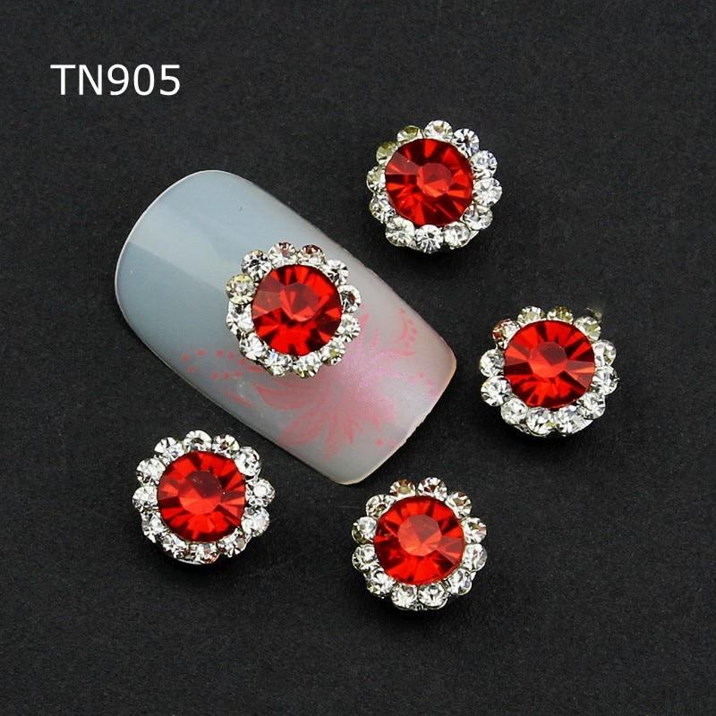 10 Pcs Rouge Alliage Glitter 3d Nail Art Décorations Avec