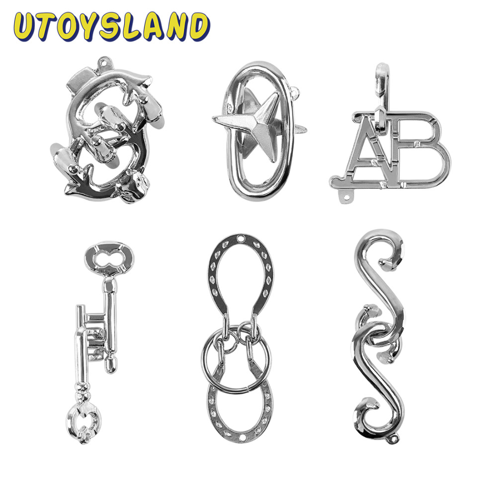 UTOYSLAND 6Pcs Metal Puzzle IQ Brain Teaser Set for Children Adults MT1143