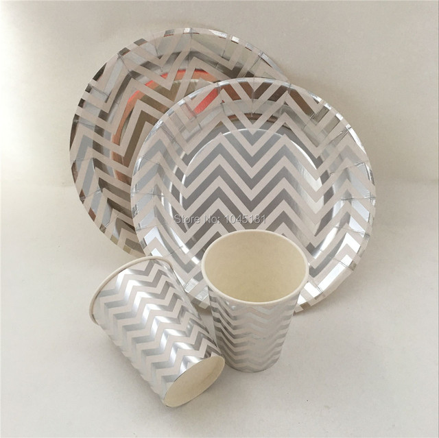 48pcs Metallic Gold/Silver Chevron Disposable Tableware Dessert Cocktail Cups Plates for Tea Party Christmas & 48pcs Metallic Gold/Silver Chevron Disposable Tableware Dessert ...