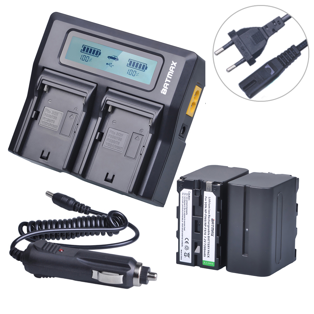 2Pcs NP-F970 F970 NP-F960 Rechargeable Battery+ Ultra 3X faster Dual Charger Kits for Sony F975 F970 F960 F950MC1500C 190P 198P 4pcs np f970 f970 np f960 rechargeable battery 1quick rapid charger for sony mvc fd90 fd91 fd92 hvr hd1000 f975 f970 f960