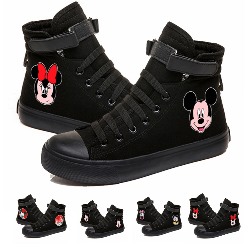 Sneakers Canvas-Shoes Teenagers Mickey Women Mous Lace-Up for Girls Student