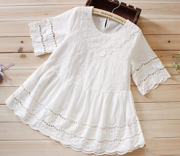 White summer preppy style lace loose embroidery cutout cotton shirt female cute sweet kawaii doll shirt