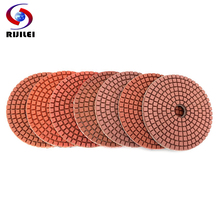 RIJILEI 7 PCS/Set 3inch Diamond Polishing Pad 80mm Wet polishing pads for Stone Granite Marble Diamond Abrasive Tools HC11B