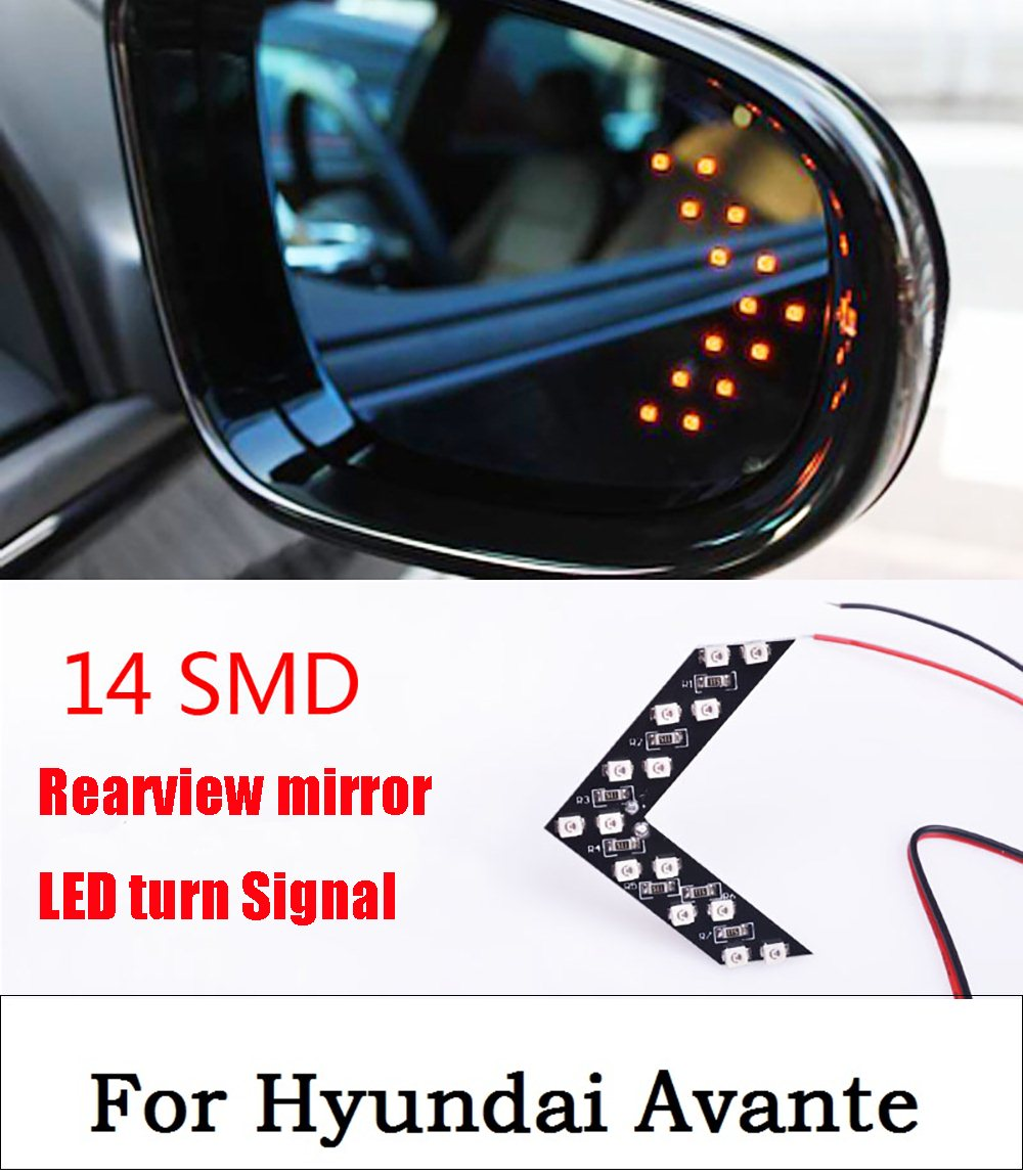 new Car Style 2PCS 14 SMD LED Arrow Panels Light Car Side Mirror Turn Signal Indicator Light Car led Parking For Hyundai Avante leadtops 2pcs 33 smd led arrow panels car side mirror turn signal indicator lights sequential yellow red blue green white be