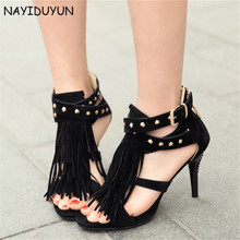 NAYIDUYUN  Fashion Womens Spike Studded Super High Heels Roman Gladiator Sandals Summer Ankle Cross Strappy Party Pumps