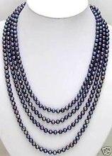 """Venta 6 – 7 mm negro perla Natural negro largo 80 """" collar – nec5449"""