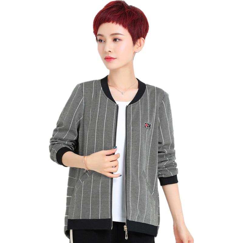 Spring autumn baseball collar   jacket   women fashion ladies striped outerwear plus size casual female   basic     jacket   high quality