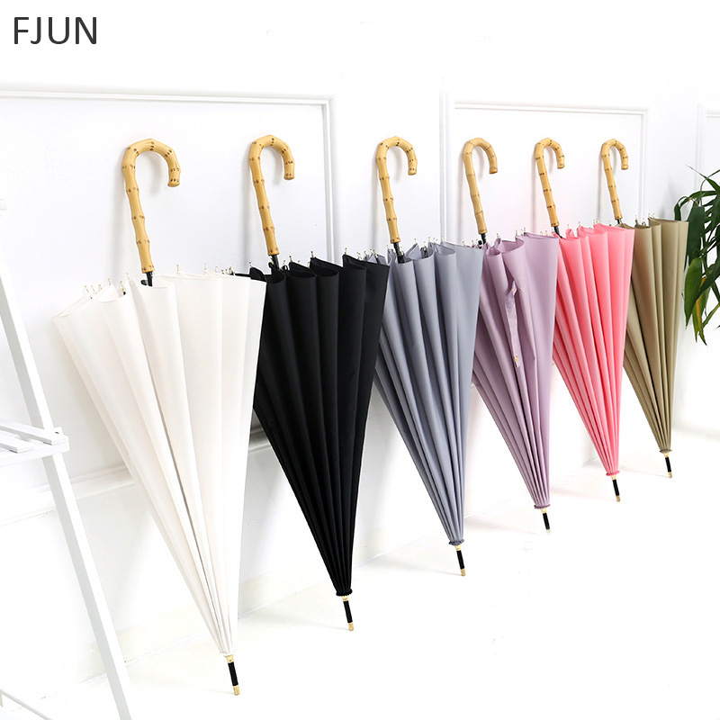 16K simple wood long handle umbrella creative Windproof parasol Women/Female Rain/sun Guarda-chuva New High Quality Parapluie