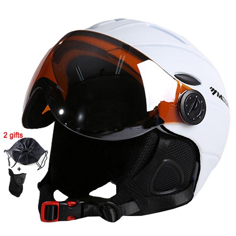 MOON Goggles Skiing Helmet CE Certification Safety Ski Helmet With Glasses Skating Skateboard Skiing Snowboard Helmet
