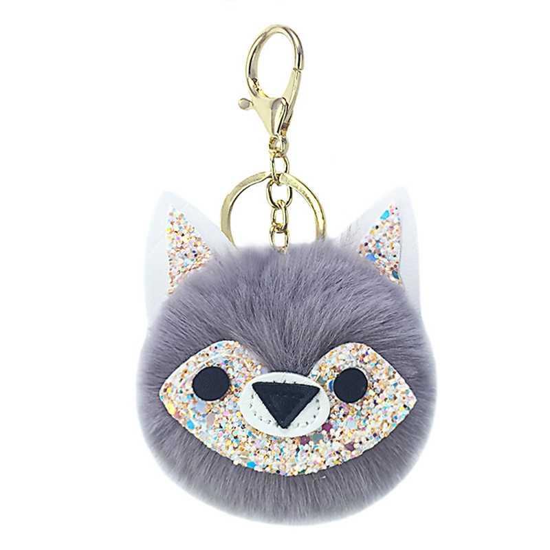 2018 Mới Nhỏ Fox Porte Khóa Của Âm Nhạc Phụ Nữ Fluffy Keychain Pompom Llavero Giả Thỏ Con Cáo Lông Bóng Túi Móc Chìa Khóa Chaveiro sleutelhange