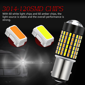 Image 2 - Katur 2pcs Dual Color 1157 BAY15D Led Bulbs For Cars Switchback Orange/White Led Turn Signal Lights With DRL Function 1200Lm