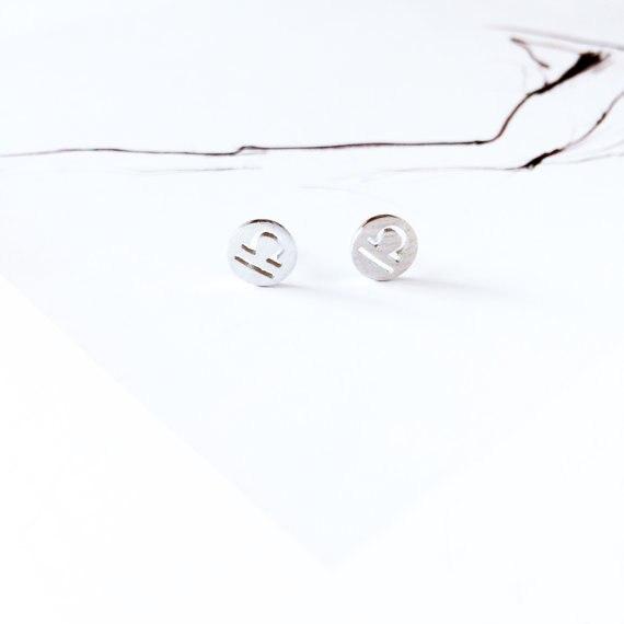 1Pair Libra Earrings Signs 12 Zodiac Constellation Earrings Horoscope Astrology Round Circle Disc Stud Earrings
