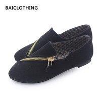 BAITCLOTHING mulheres bonito primavera & verão zipper sapatos baixos senhora casual preto confortável sapatos femininos legais flats zapatos de mujer