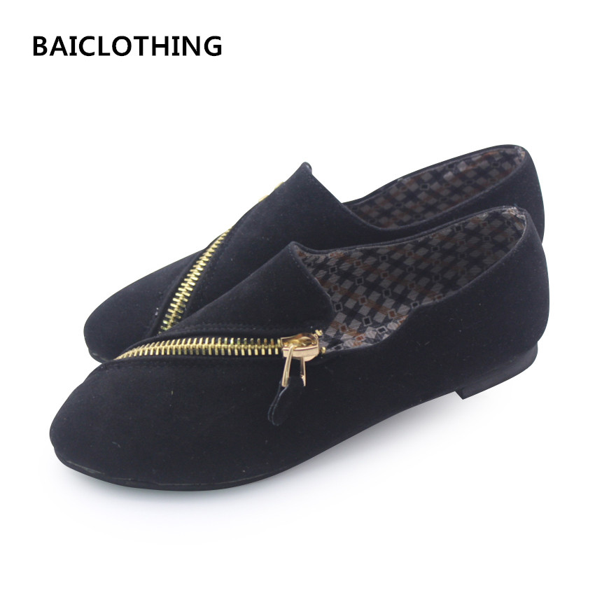 BAITCLOTHING women cute spring & summer zipper flat shoes lady casual black comfortable shoes female cool flats zapatos de mujer baiclothing women casual pointed toe flat shoes lady cool spring pu leather flats female white office shoes sapatos femininos