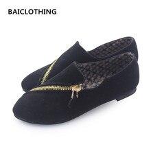 BAITCLOTHING women cute spring summer zipper flat shoes lady casual black comfortable shoes female cool flats