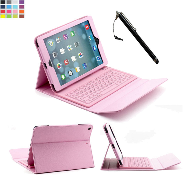 For Apple iPad Air 2 Tablet Ultra Slim PU Leather Folio Case Cover with Built-in QWERTY Silicone Bluetooth 3.0 Keyboard & Stand