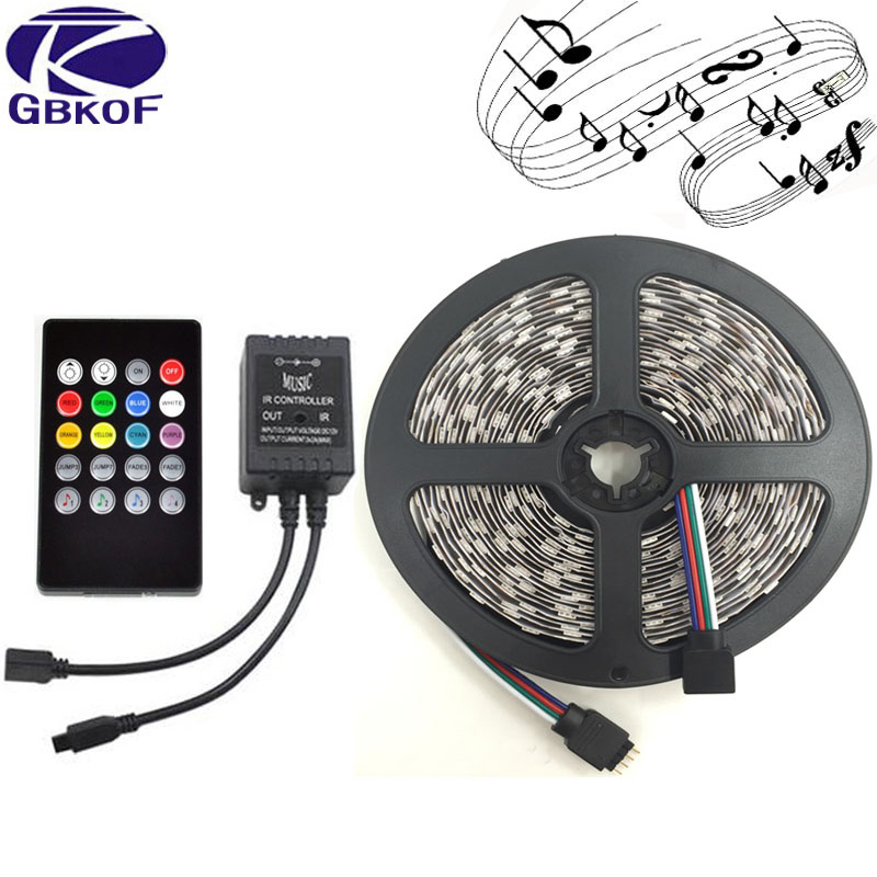 5m/lot IP65 Waterproof 5m 300LED flexible strip 60LEDs/m 12V SMD 5050 RGB led strip set with 24Key/44Key Music Remote controller 纽约史