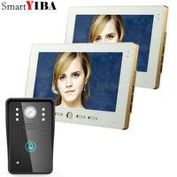 SmartYIBA 2 Monitors 10 Video Door Phone Intercom Doorbell Touch Button Remote Unlock Night Vision Security CCTV Camera