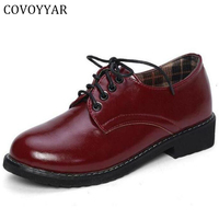 Miss C S 2015 Autumn Fall Lace Up Women Oxford Shoes Vintage Round Toe Women