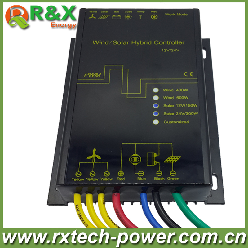 LED display Wind solar hybrid charge controller for 600w max wind generator and 12V/150W, 24V/300W solar panel 600w wind solar hybrid controller 400w wind turbine 200w solar panel charge controller 12v 24v auto with big lcd display