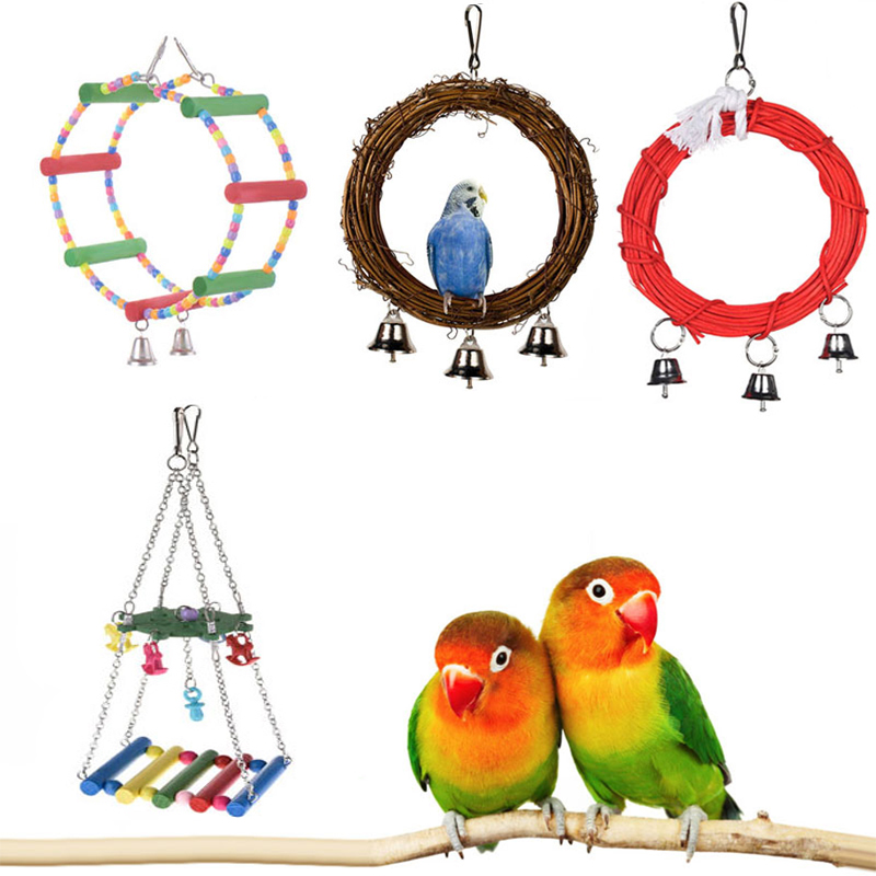 Parrot Toys Pet Bird Bites Climb Chew Toy Hanging Cockatiel Parakeet Climb Chewing Cage With Bell Bird Toys