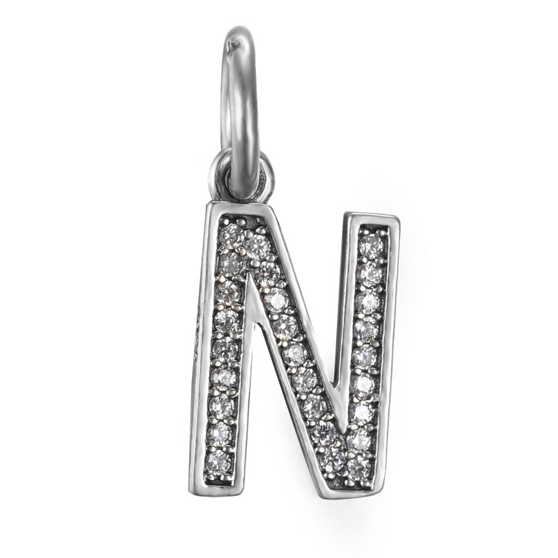 free shipping 100 925 sterling silver n initial letter dangle bead hanging charm fit european pandora charm bracelet
