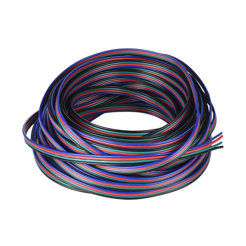 hight resolution of rgb led wire 4pin 22 awg pvc extension rgb black wire cable use for smd3528 5050 rgb led strip light