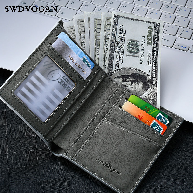 Short Men's Purse Credit Card Wallet Male Slim PU Leather Purse For Men Wallets Thin Long Men Walet Bag Black Carteira Masculina