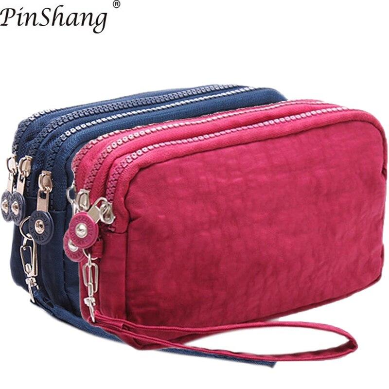 2018 Frauen Geldbörsen Telefon Brieftasche Paket 3 Schichten Handtasche Mode Qualität Kleine Geldbörse Für Frauen Geld Tasche Doppel-reißverschluss Zk30