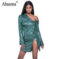 Abasona Women Sparkle Dresses Evening Party Club Dress Spring Buttons Design Long Sleeve Sexy Bodycon Pencil