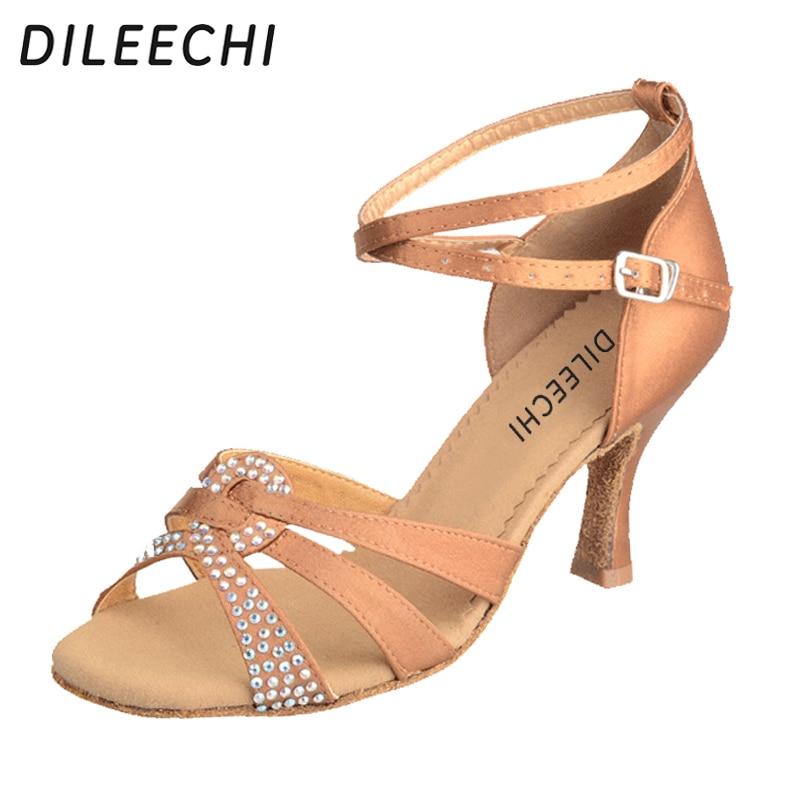 DILEECHI brand Black satin rhinestones bronze Latin dance shoes female adult high heeled women's Square dance shoes