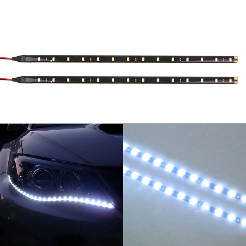 2PCS 30cm 5050 12LED Flexible LED Strip Light Decoration Lamp Waterproof DIY Decor Super Bright White For Car Boat 12V
