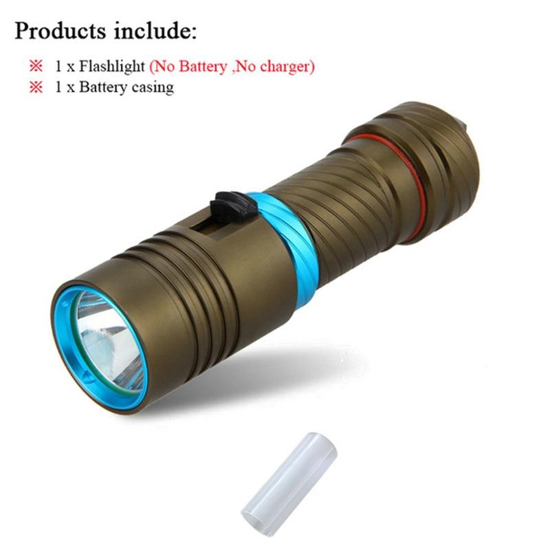 led torch 18650 or 26650 Submersible LED Flashlight Underwater Light Portable Waterproof Flashlight Diving Flashlight zaklamp kinfire high waterproof 3 led 1800lm diving flashlight black 2 x 18650 26650