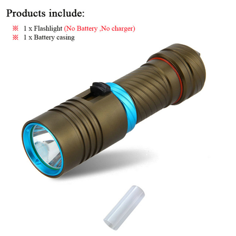 led torch 18650 or 26650 Submersible LED Flashlight Underwater Light Portable Waterproof Flashlight Diving Flashlight zaklamp