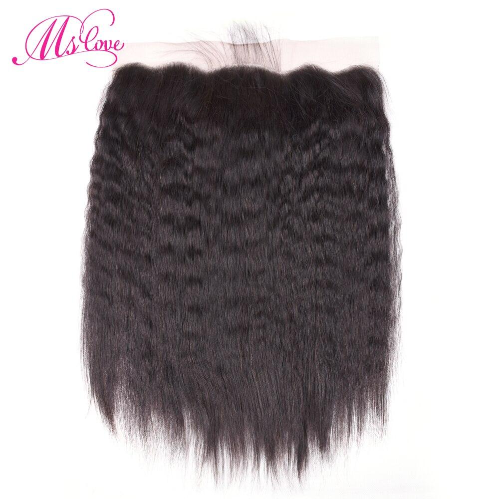 Ms love Hair Kinky Straight Lace Frontal Italian Yaki 13 4 Non Remy Brazilian Human Hair