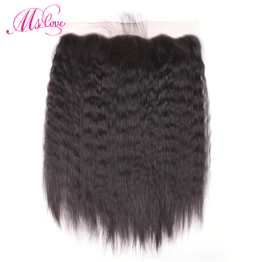 Ms love Hair Kinky Straight Lace Frontal Italian Yaki 13*4 Non Remy Brazilian Human Hair Frontal Closure Pre-plucked #1B