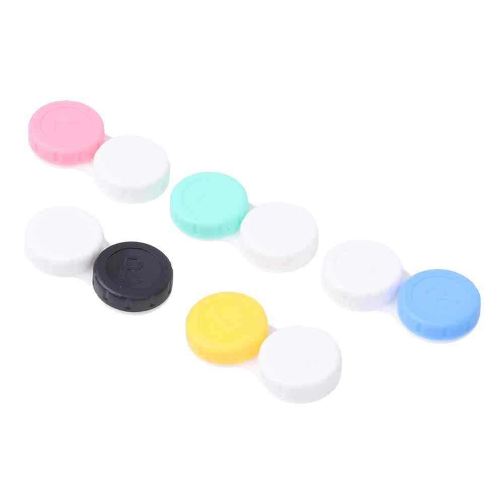Caja de lentes de contacto soporte de plástico objetivo estuche portátil de viaje contenedor de almacenamiento