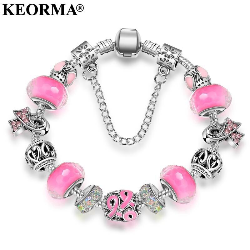 KEORMA Neue Pink Awareness Armband Lila & Band Kristall Perlen Europäische art-charme armband Für Frauen schmuck KM010