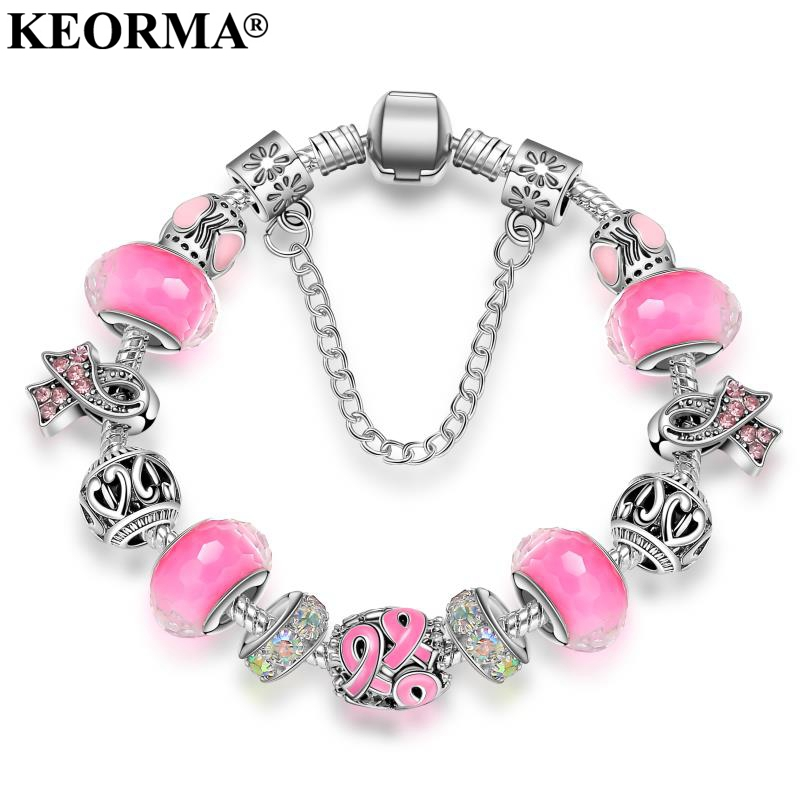 KEORMA New Pink Awareness Bracciale Viola e Nastro Perline Di Cristallo stile Europeo braccialetto di fascino Per I monili Delle Donne KM010
