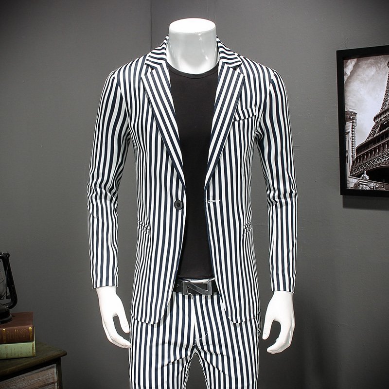 Striped Blazer Mens 2018 Slim Fit Blazer Vintage Suit Jacket Men Stylish Blazer Chaquetas Hombre De Vestir Plus Size4xl