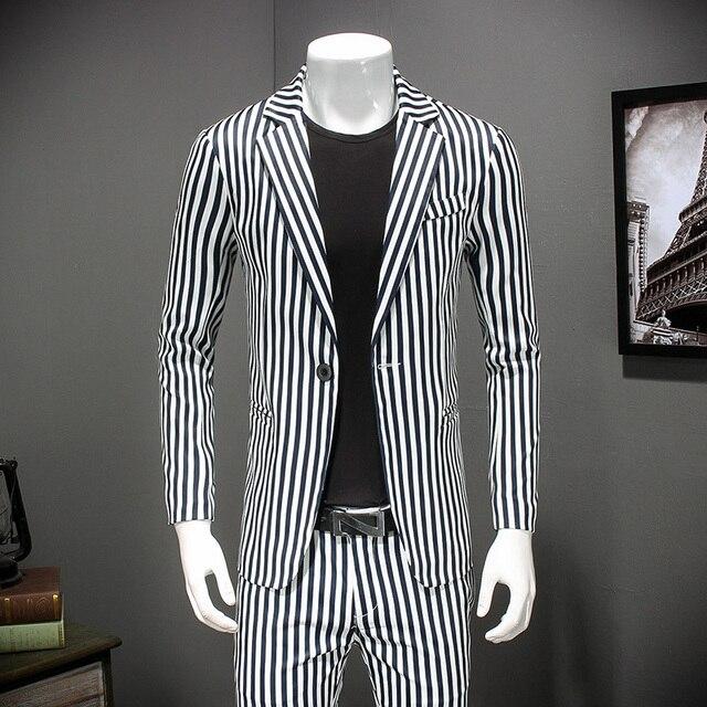 b4458eb6bd10b Striped Blazer Mens 2018 Slim Fit Blazer Vintage Suit Jacket Men Stylish  Blazer Chaquetas Hombre De