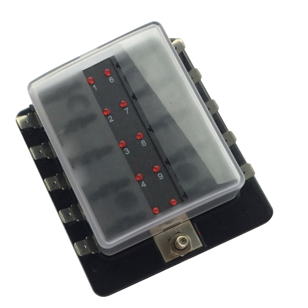 durale 10-way led illuminated blade fuse box with cover